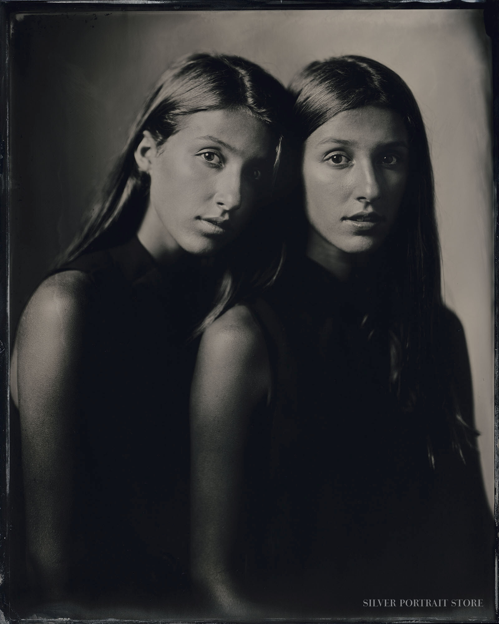 Zelda & Sammie-Silver Portrait Store-Scan from Wet plate collodion-Tintype 20 x 25 cm