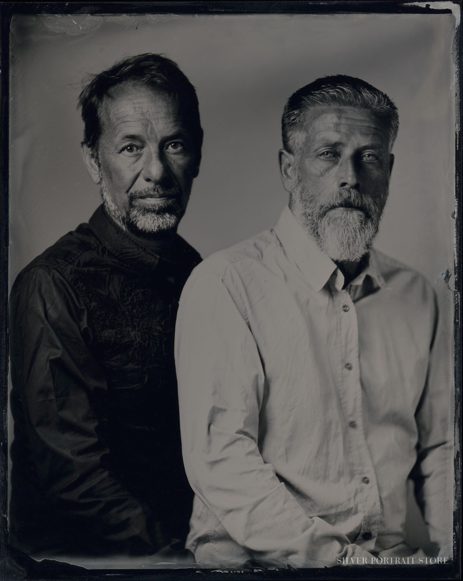 Jan Jelle & Cees-Silver Portrait Store-Scan from Wet plate collodion-Tintype 10 x 12 cm.