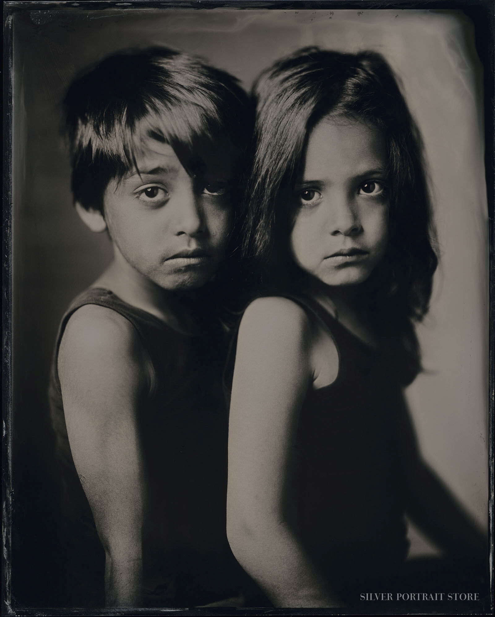 Marius & Dewi-Silver Portrait Store-Scan from Wet plate collodion-Tintype 20 x 25 cm.