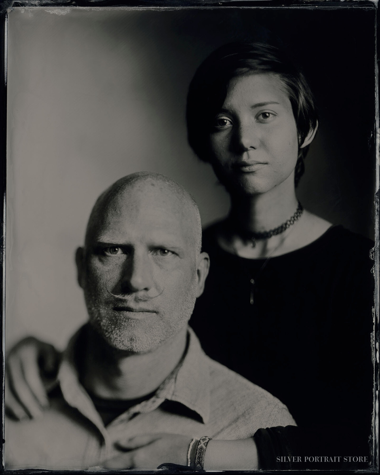 Paul & Antonia-Silver Portrait Store-scan from Wet plate collodion-Black glass Ambrotype 20 x 25 cm.