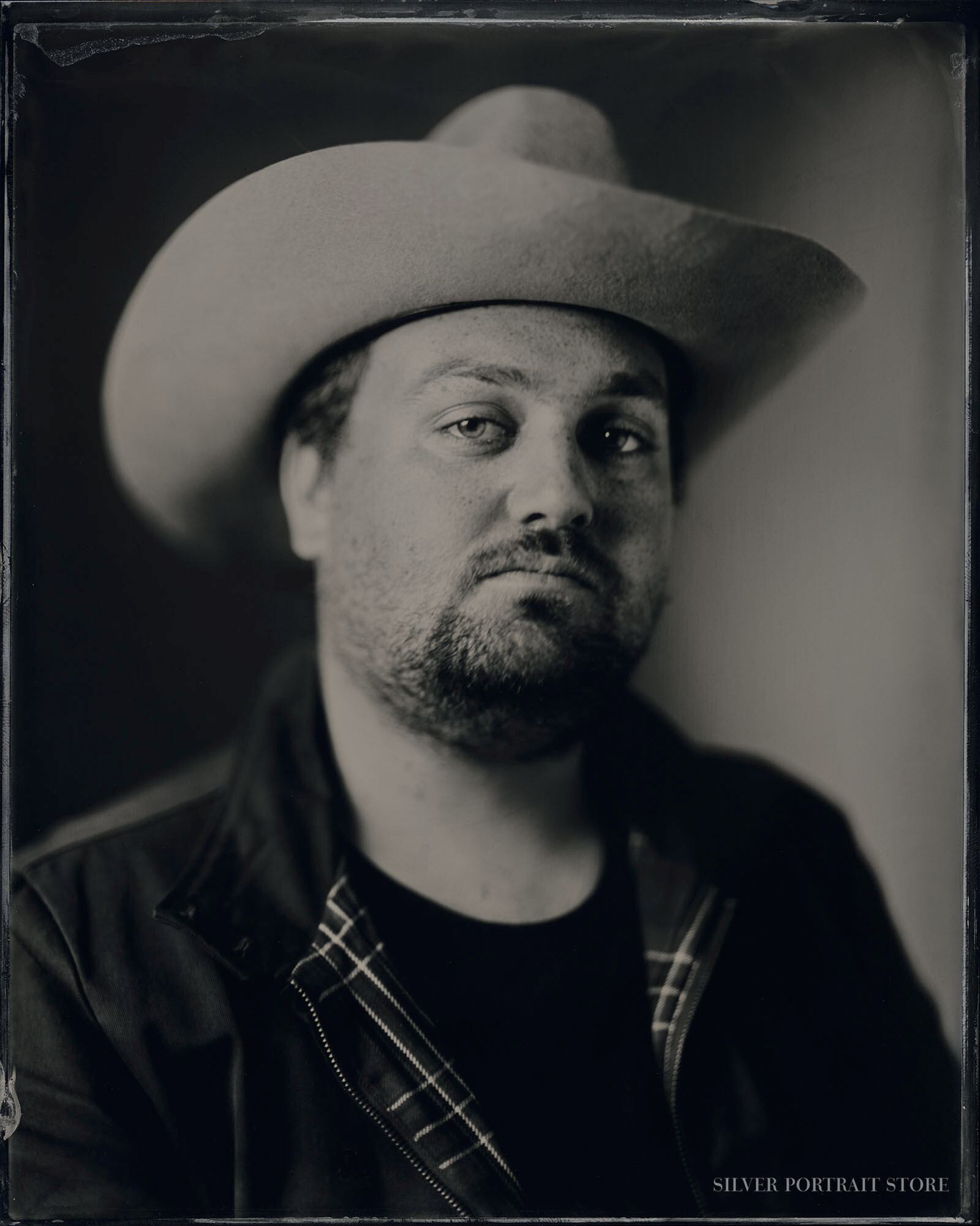 Tim Knol-Musician-Silver Portrait Store-Scan from Wet plate collodion-Tintype 20 x 25 cm.