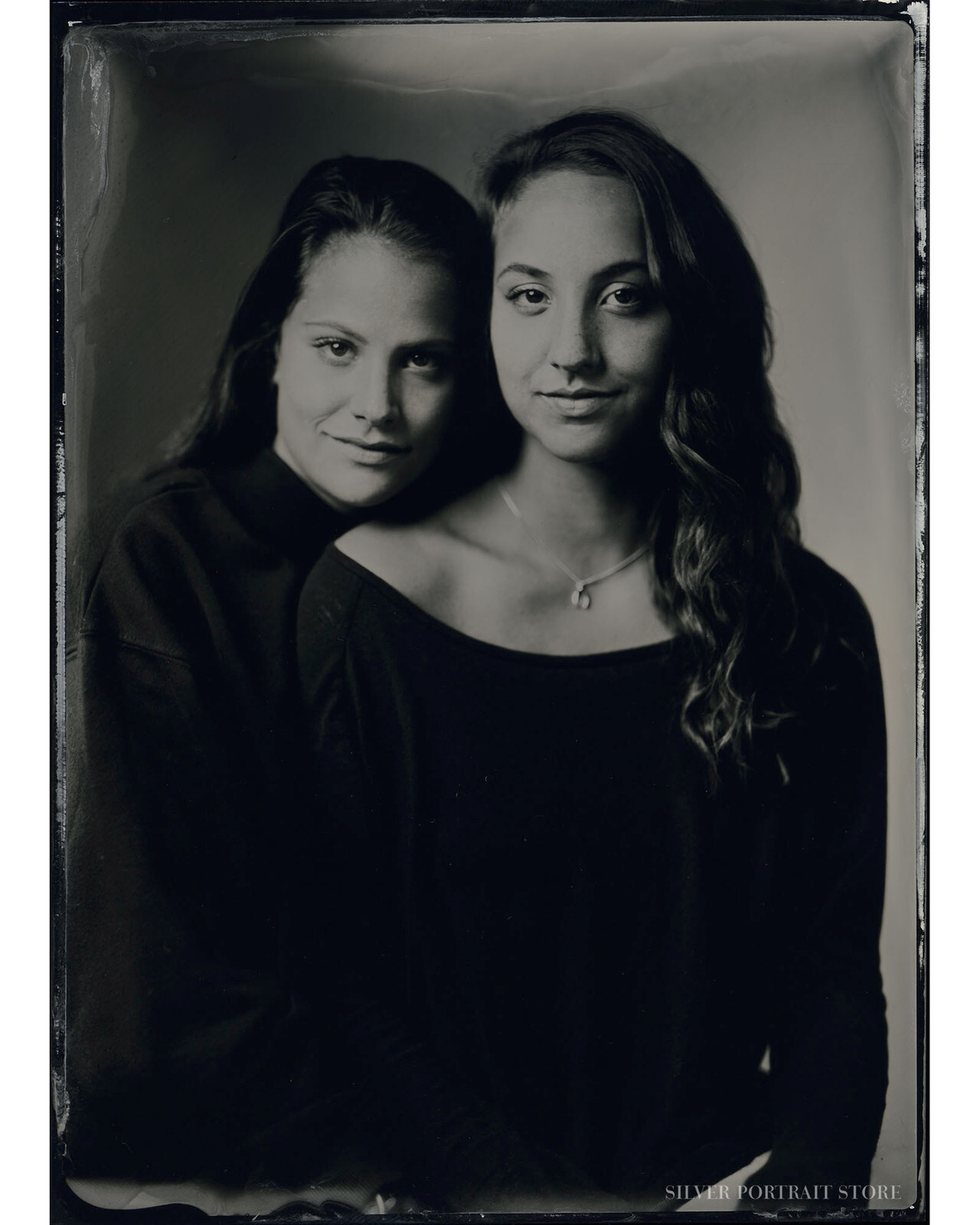 Kathrin & Astrid-Silver Portrait Store-Scan from Wet plate collodion-Tintype 13 x 18 cm