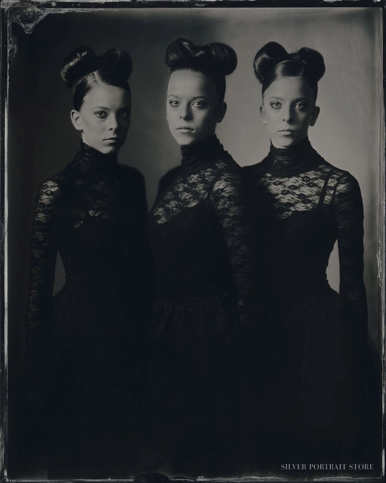 Ellis, Bo & Amy-Silver Portrait Store-Scan from Wet plate collodion-Tintype 20 x 25 cm