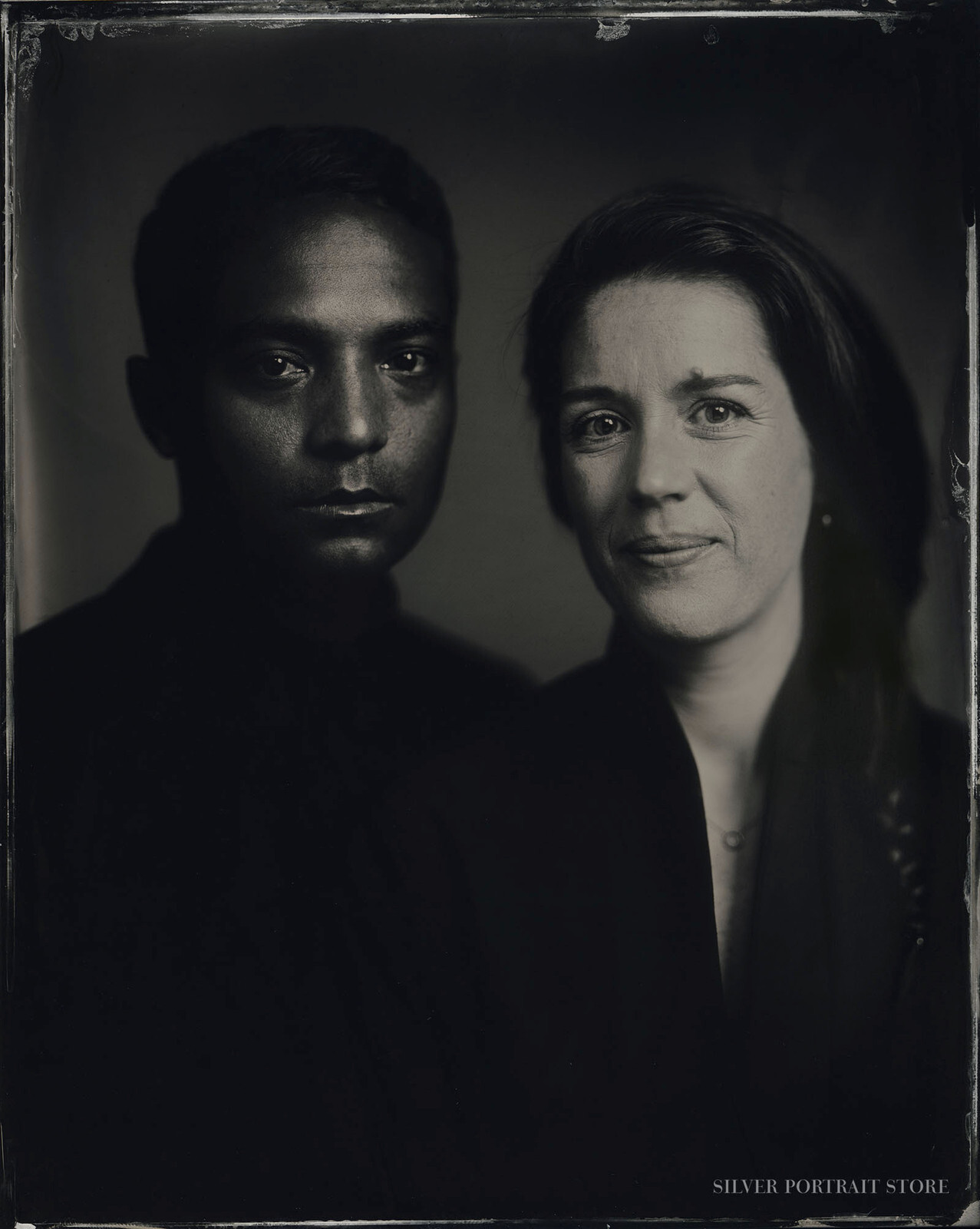 Christopher & Anouk-Silver Portrait Store-scan from Wet plate collodion-Tintype 20 x 25 cm.