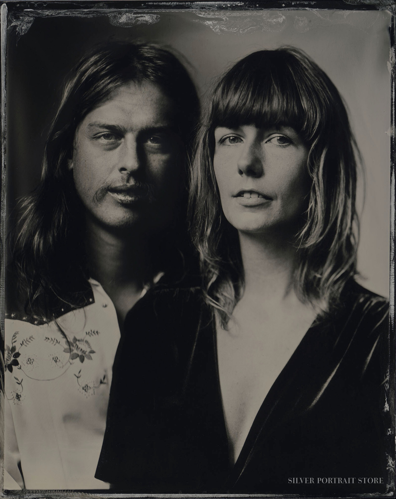 Pablo & Nikki-Silver Portrait Store-scan from Wet plate collodion-Tintype 10 x 12 cm.
