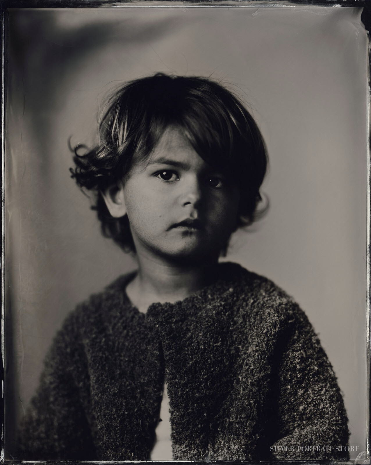 Tess-Silver Portrait Store-scan from Wet plate collodion-Tintype 20 x 25 cm.