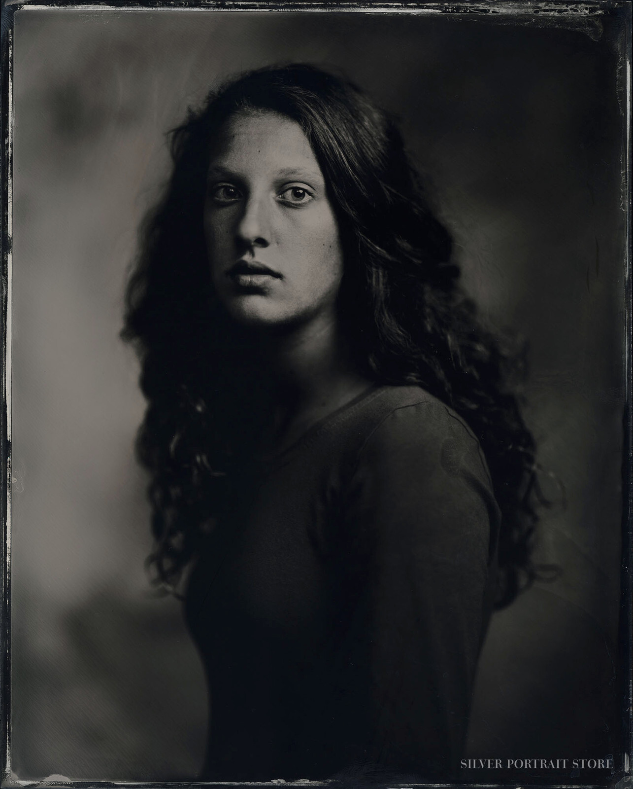 Lois-Silver Portrait Store-scan from Wet plate collodion-Clear glass Ambrotype 20 x 25 cm.