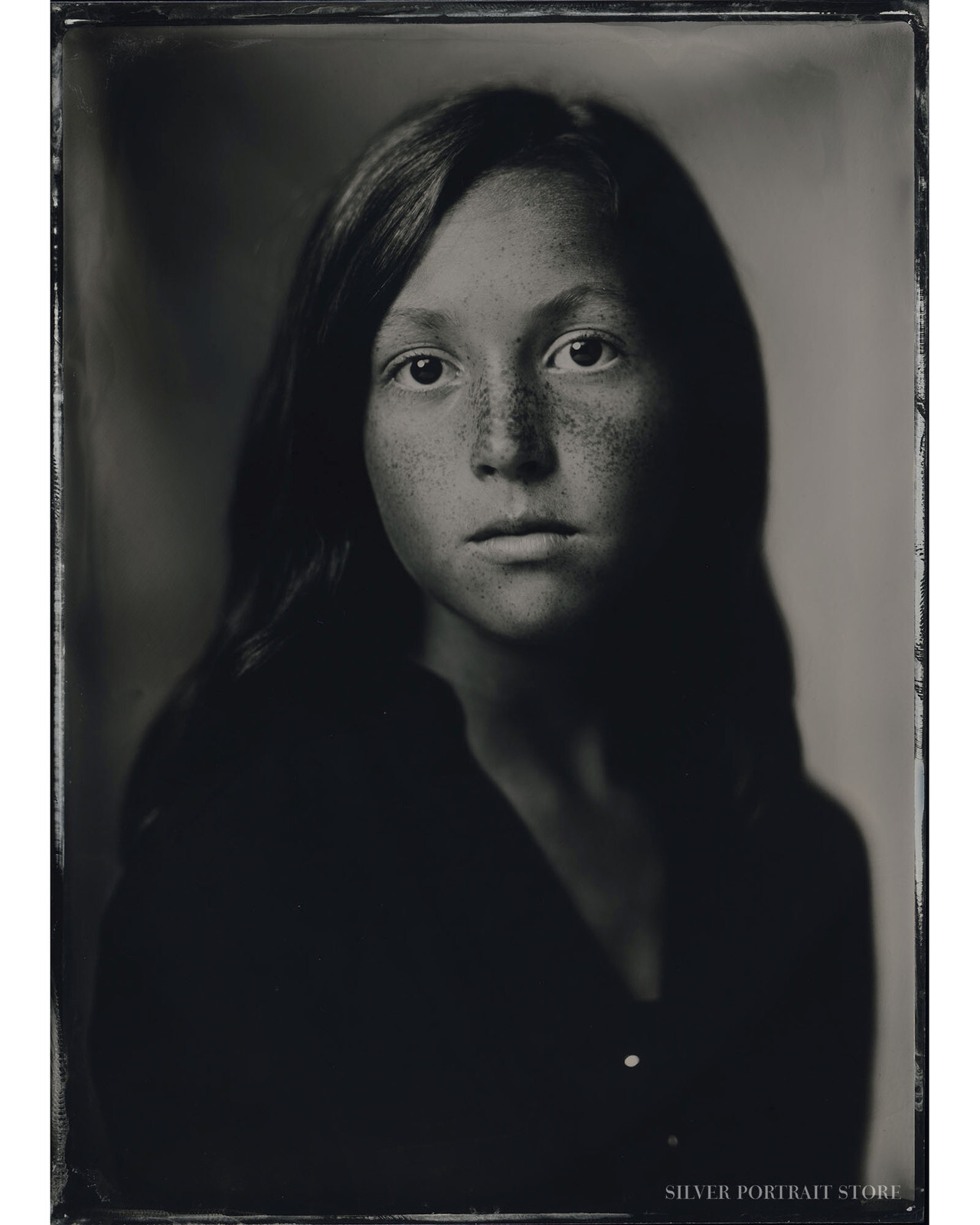 Eline-Silver Portrait Store-scan from Wet plate collodion-Tintype 13 x 18 cm.