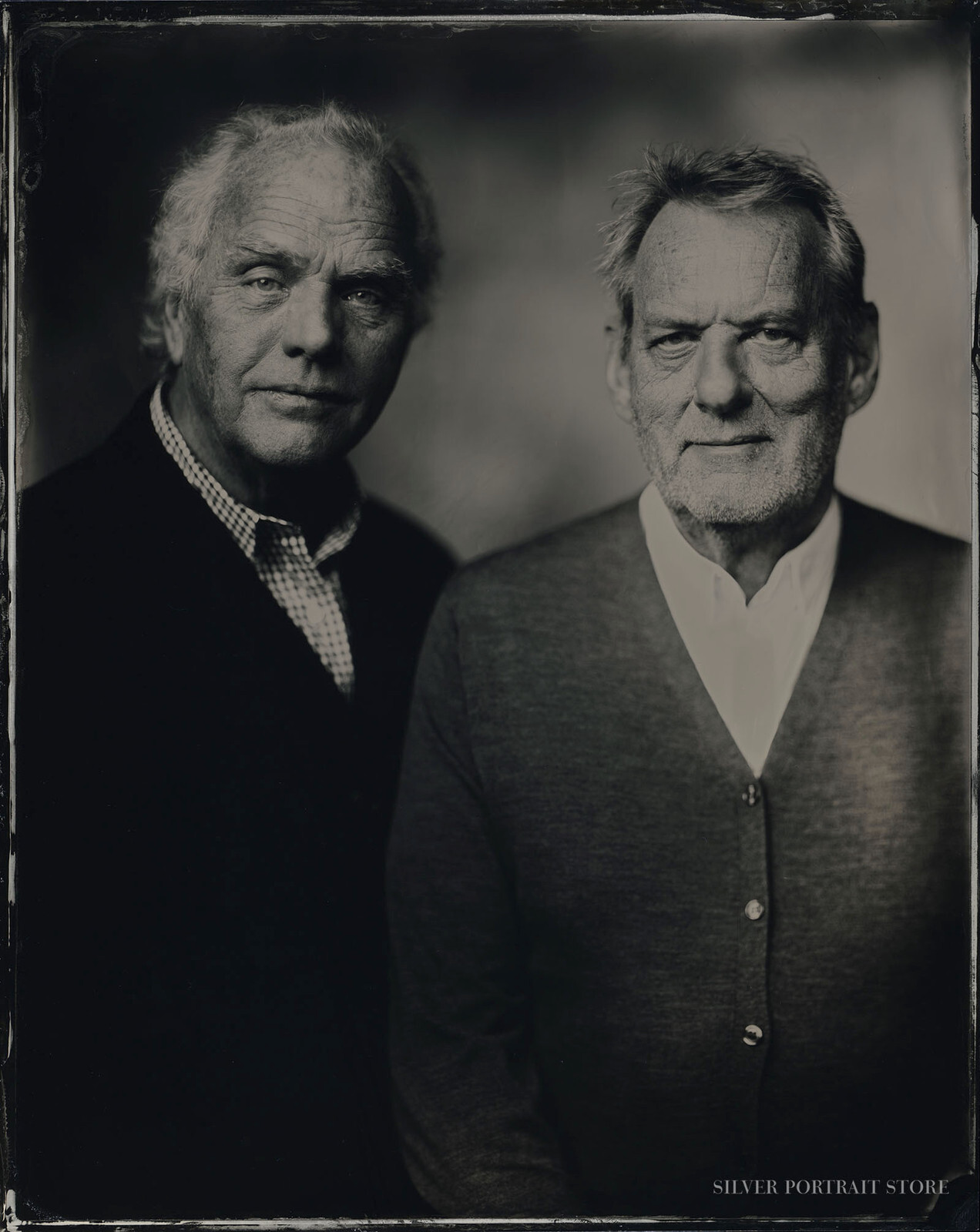 Sandor & Hans-Silver Portrait Store-scan from Wet plate collodion-Tintype 20 x 25 cm.